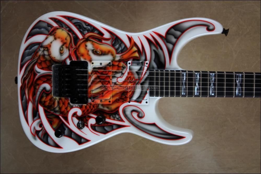 Jackson custom shop mike learn koi fish graphic for Koi fish guitar